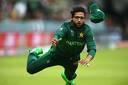 Pakistan's Imam-ul-Haq tries to take a catch during the ICC Cricket World Cup group stage match at Lord's, London.