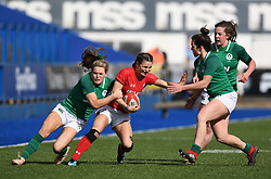 Wales'  Jasmine Joyce on the attack.<br /> Wales Women v Ireland Women<br /> Guinness Six Nations 2019<br /> Cardiff Arms Park<br /> <br /> Photographer Mike Jones/Replay Images<br /> <br /> Guinness Six Nations 2019<br /> Cardiff Arms Park<br /> Cardiff.<br /> 17th March 2019<br /> <br /> World Copyright © Replay Images . All rights reserved. info@replayimages.co.uk - http://replayimages.co.uk