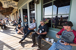 Cannonballers enjoy a great hosted dinner in historic downtown Dodge City, KS during the Motorcycle Cannonball Race of the Century. Stage-8 from Wichita, KS to Dodge City, KS. USA. Saturday September 17, 2016. Photography ©2016 Michael Lichter.