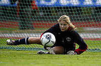 Fotball<br /> Landskamp J15/16 år<br /> Tidenes første landskamp for dette alderstrinnet<br /> Sverige v Norge 1-3<br /> Steungsund<br /> 11.10.2006<br /> Foto: Anders Hoven, Digitalsport<br /> <br /> Vilde Thorbjørnsen - Høyang / Norge<br /> Redder straffespark