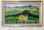 """Painting of the traditional Swiss autumn cattle parade, a festive descent from alpine pastures: """"Appenzell, Auserhodische. Alpfahrt. Schwägalp mit, 7 Hütten - Santis Schwebebahn - Rossfall."""" by Johann Baptist Zeller (1877-1959). In this living tradition, cows are adorned with flowers and bells ring festively as the farmers walk alongside in their finest traditional costumes. Appenzell Museum, which is in the town hall, shows a cross section of the Swiss Canton's history and culture. Appenzell village is in Appenzell Innerrhoden, Switzerland's most traditional and smallest-population canton (second smallest by area)."""