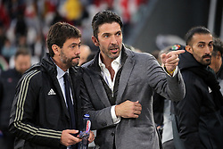 May 19, 2019 - Turin, Turin, Italy - Andrea Agnelli and Gianluigi Buffon during the serie A match between Juventus FC and Atalanta BC at Allianz Stadium on May 19, 2019 in Turin, Italy. (Credit Image: © Giuseppe Cottini/NurPhoto via ZUMA Press)
