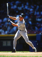 CHICAGO - 1993:  Omar Vizquel of the Seattle Mariners bats against the Cleveland Indians during a 1993 MLB game at Municipal Stadium in Cleveland, Ohio.  Vizquel played for the Mariners from 1989-1993.  (Photo by Ron Vesely)