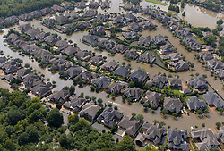 Sept. 1, 2017 -  Houston, Texas, U.S. - Aerial photo shows flooded houses after Hurricane Harvey hit Houston. Hurricane Harvey inundated the Barker and Addicks reservoir areas, west of Houston. Houston residents have begun to assess the storm's trail of destruction as Harvey's floodwaters slowly start to recede. (Credit Image: © Yin Bogu/Xinhua via ZUMA Wire)