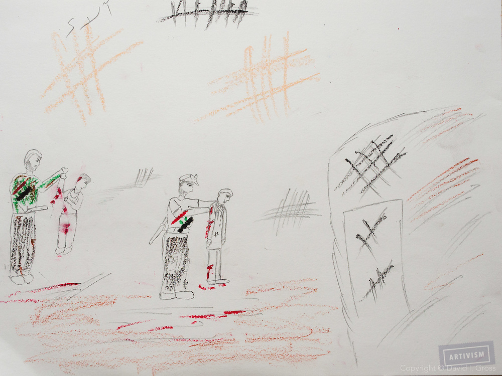 """""""Soldiers from Assad's army show how they kill people."""" Drawing by Syrian girl, age 13. (Topic for this session: dealing with loss.)"""