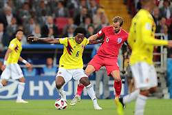 July 3, 2018 - Moscow, Russia - midfielder Carlos Sanchez of Colombia National team and forward Harry Kane of England National team  during the round of 16 match between Colombia  and England at the FIFA World Cup 2018 at Spartak Stadium  in Moscow, Russia, Tuesday, July 3, 2018. (Credit Image: © Anatolij Medved/NurPhoto via ZUMA Press)