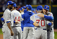 CLEVELAND, OH - OCTOBER 25: Ben Zobrist of the Chicago Cubs greets teammates on the field before the start of Game 1 of the 2016 World Series against the Cleveland Indians at Progressive Field on Tuesday, October 25, 2016 in Cleveland, Ohio. (Photo by Ron Vesely/MLB Photos via Getty Images)
