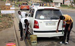 """SOUTH AFRICA - Durban - 17 June 2020 - A group of youngsters celebrates Youth Day with asome car wash at KwaMashu Township, Durban on Tuesday. washing car for R30 wearing Uniform. Luthando Sibiya, founder of the idea, said: """"Growing up in a dangerous place like Inanda and becoming one of the best basket ball player in the country is a huge achievement to me."""" but the is lack of funding made us to come back to the streets of KwaMashu and come up with ideas on how to make money.<br /> Picture: Motshwari Mofokeng/African News Agency (ANA)"""