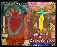 Artist's journal collage painting with heart on fire and arms wide open. Art Journal by Elena Ray. Handmade artist's journals filled with collage and crazy wisdom.