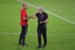 September 2, 2017 - Athenes, Grece - ANTHENS, GREECE - SEPTEMBER 2 : Roberto Martinez head coach of Belgian Team talking to Herman De Landtsheer  video analyst of Belgian Team during a training session of the National Soccer Team of Belgium prior to the 2018 World Cup qualifier against Greece at the Karaiskaki Stadium Piraeus on September 02, 2017 in Anthens, Greece, 2/09/2017 (Credit Image: © Panoramic via ZUMA Press)