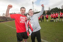 Edinburgh City's Douglas Gair  and Edinburgh City's manager Gary Jardine. Edinburgh City crowned champions. <br /> Edinburgh City 0 v 0 Gretna FC2008, Scottish Sun Lowland League game played at Meadowbank Stadium, 28/3/2015.