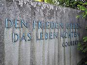 "Berlin-Grünau. GERMANY.  Den Frieden Lieben, Das Leben Achten/ Serving peace, respecting life""  [Coubertin]"" Inscription on the plaque erected  at the 1936 Olympic Regatta site, Frühregatta Saturday 30/04/2011 [Mandatory Credit; Peter Spurrier/Intersport-images]."