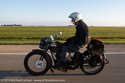 Victor Boocock turned 76 while riding his 1914 Harley-Davidson 10e on his 5th cross-country trip on the Motorcycle Cannonball coast to coast vintage run. Stage 8 (314 miles) from Spirit Lake, IA to Pierre, SD. Saturday September 15, 2018. Photography ©2018 Michael Lichter.