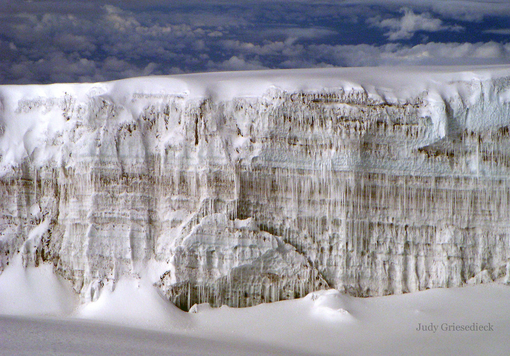 Nearing the summit, a giant and beautiful glacier is seen on Mt. Kilimanjaro.