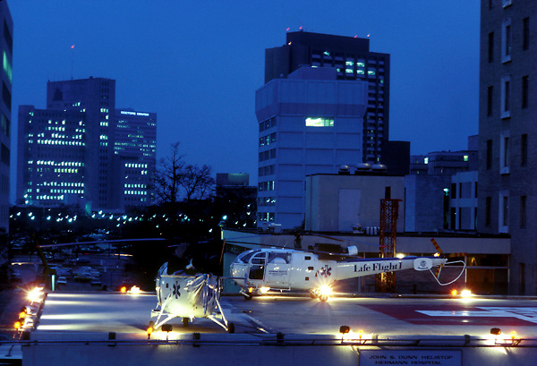 Stock photo of life flight helicopters on the pad.