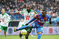 Fotball<br /> Frankrike<br /> 01.02.2015<br /> Foto: Panoramic/Digitalsport<br /> NORWAY ONLY<br /> <br /> Lenny Nangis (Caen)<br /> Kevin Theophile Catherine (Saint Etienne)<br /> Caen vs Saint Etienne - Ligue 1