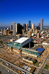 Stock photo of an aerial Construction Site of Enron Field (now Minute Maid Park) and the Houston Texas skyline