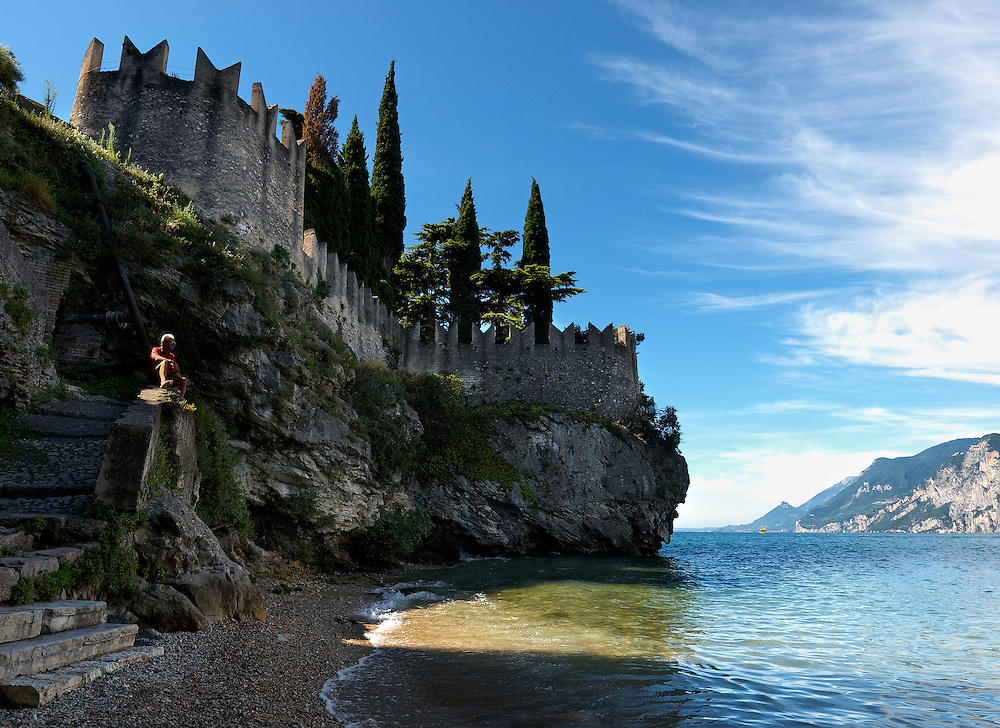 Italy - Malcesine - Man by the lake