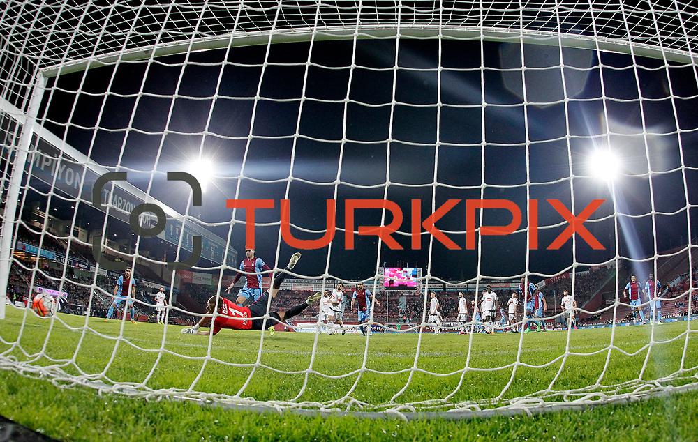 Gaziantepspor's goalkeeper Karcemarskas (L) during their Turkish Super League match Trabzonspor between Gaziantepspor at the Avni Aker Stadium at Trabzon Turkey on Wednesday, 28 October 2015. Photo by Aykut AKICI/TURKPIX