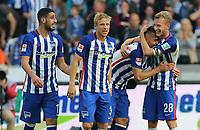 BILDET INNGÅR IKEK I FASTAVTALER. ALL NEDLASTING BLIR FAKTURERT.<br /> <br /> Fotball<br /> Tyskland<br /> Foto: imago/Digitalsport<br /> NORWAY ONLY<br /> <br /> Tolga Cigerci 2:0, Per Ciljan Skjelbred, Vedad Ibisevic 3:0, Fabian Lustenberger / Freude / Emotion / jubelnd / Jubel nach 3:0 / / Fußball Fussball / DFL Bundesliga Herren / Saison 2015/2016 / 03.10.2015 / Hertha BSC Berlin vs. Hamburger SV HSV /