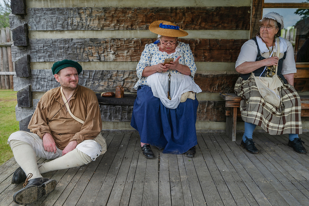 """From left, Gregory Wires, """"Shorty"""" Clegg and Barbara Kemper at Fort Randolph in Point Pleasant, W.Va., on May 17, 2019."""