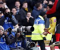 Photo: Richard Lane/Sportsbeat Images.<br />Watford v Cardiff City. Coca Cola Championship. 26/12/2007. <br />Watford's Jobi Mcanuff (rt) celebrates his goal in front of the photographers.