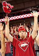 Jan 19, 2012; Fayetteville, AR, USA; An Arkansas Razorbacks fan calls the hogs before the start of a game against the Michigan Wolverines at Bud Walton Arena. Arkansas defeated Michigan 66-64. Mandatory Credit: Beth Hall-US PRESSWIRE