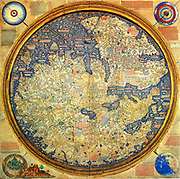 Fra Mauro map (1460). The Fra Mauro Map orientation (South at the top).is considered the greatest memorial of medieval cartography. by the Venetian monk Fra Mauro. It is a circular planisphere drawn on parchment and set in a wooden frame, about two meters in diameter