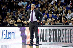 Philadelphia 76ers Head Coach Brett Brown on the touchline during the NBA London Game 2018 at the O2 Arena, London.