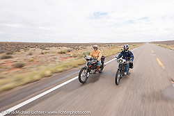 New Yorkers Frank Westfall (L) riding his 4-cylinder 1912 Henderson class-2 bike next to mechanic and restorer Tanner Whitton of New York on Mark Hill's 4-cylinder 1915 class-2 Henderson as they come into Page during the Motorcycle Cannonball Race of the Century. Stage-11 ride from Durango, CO to Page, AZ. USA. Wednesday September 21, 2016. Photography ©2016 Michael Lichter.
