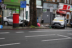 © Licensed to London News Pictures. 11/12/2020. London, UK. Crime scene in Stamford Hill, north London after a car which mounted on pavement and plough into pedestrians just after 9.30am. Five people have been rushed to the hospital. Photo credit: Dinendra Haria/LNP