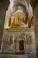 Pictures & images of the 14th-century copy of the aedicule shrine of the Church of the Holy Sepulchre. The Eastern Orthodox Georgian Svetitskhoveli Cathedral (Cathedral of the Living Pillar) , Mtskheta, Georgia (country). A UNESCO World Heritage Site.<br /> <br /> Currently the second largest church building in Georgia, Svetitskhoveli Cathedral is a masterpiece of Early Medieval architecture completed in 1029 by Georgian architect Arsukisdze on an earlier site dating back toi the 4th century. .<br /> <br /> Visit our MEDIEVAL PHOTO COLLECTIONS for more   photos  to download or buy as prints https://funkystock.photoshelter.com/gallery-collection/Medieval-Middle-Ages-Historic-Places-Arcaeological-Sites-Pictures-Images-of/C0000B5ZA54_WD0s<br /> <br /> Visit our REPUBLIC of GEORGIA HISTORIC PLACES PHOTO COLLECTIONS for more photos to browse, download or buy as wall art prints https://funkystock.photoshelter.com/gallery-collection/Pictures-Images-of-Georgia-Country-Historic-Landmark-Places-Museum-Antiquities/C0000c1oD9eVkh9c