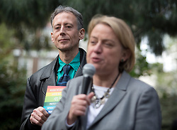 © Licensed to London News Pictures. 01/05/2015. London, UK. Campaigner Peter Tatchell and Natalie Bennett launch the Green Party's LGBTIQ manifesto in Soho Square, central London. Ms Bennett announced Green pledges to review the discriminatory blood ban and introduce LGBTIQ-inclusive sex education. Photo credit: LNP