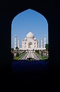The Taj Mahal photographed through an arch, Agra, India