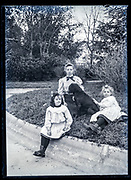 girls only group with dog portrait in the garden France ca 1920s