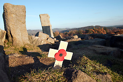 Langset Reservoir Walk rememberance day poppy and wooden cross 20 November 2011  Image © Paul David Drabble