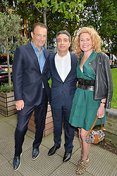 Left to right, JEREMY MORRIS, TAREK KHLAT and ERIN MORRIS at an Evening at The River Cafe in aid of the NSPCC held at The River Cafe, Thames Wharf, Rainville Road, London on 19th June 2016