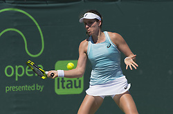 March 23, 2018 - Miami, FL, United States - Miami, FL - March, 23: Johanna Konta(GBR) in action here plays Kirsten Flipkens (BEL) at the 2018 Miami Open held at the Tennis Center at Crandon Park.   Credit: Andrew Patron/Zuma Wire (Credit Image: © Andrew Patron via ZUMA Wire)