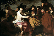 Feast of Bacchus' also called 'The Drinkers'. Diego Velasquez (1599-1660) Spanish painter. Dionysius, in Greek mythology the god of wine, here with drunken Spanish peasants.