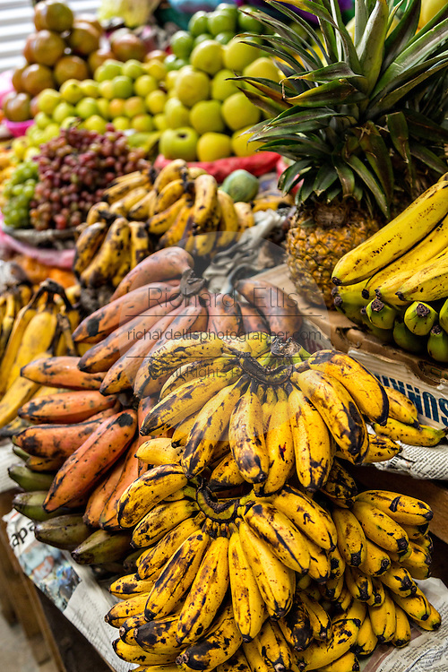 Bananas and tropical fruit at Benito Juarez market in Oaxaca, Mexico.