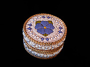 Ojibwa (Chippewa) birchbark and sweetgrass basket with floral design made with porcupine quills, Great Lakes region.
