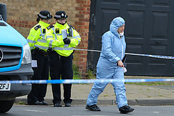 © Licensed to London News Pictures. 02/04/2019. London, UK. Crime scene on Aberdeen Road, Edmonton, in North London where a man in his 30s was stabbed just after 5am this morning. He is in a life threatening condition. According to the police the victim was attacked on Fairfield Road in Edmonton.  On Sunday 31 March 2019, four people were stabbed in just 14 hours during knife attacks within a quarter-mile radius in Edmonton North London, including one on Aberdeen Road. Two men were arrested on suspicious of grievous bodily harm. Photo credit: Dinendra Haria/LNP