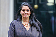Home Secretary Priti Patel, leaves 10 Downing Street in London, Thursday, Feb. 13, 2020. (Photo/Vudi Xhymshiti)