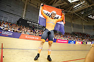 Men Sprint, Jeffrey Hoogland (Netherlands) Gold medal, flag, during the Track Cycling European Championships Glasgow 2018, at Sir Chris Hoy Velodrome, in Glasgow, Great Britain, Day 5, on August 6, 2018 - Photo luca Bettini / BettiniPhoto / ProSportsImages / DPPI<br /> - Restriction / Netherlands out, Belgium out, Spain out, Italy out -
