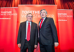 Former Prime Minister Gordon Brown and former Deputy Prime Minister Lord Prescott at a campaign event in Kirkcaldy.<br /> © Dave Johnston/ EEm