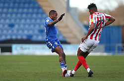 Callum Harriott of Colchester United and Rohan Ince of Cheltenham Town go in for a tackle - Mandatory by-line: Arron Gent/JMP - 29/02/2020 - FOOTBALL - JobServe Community Stadium - Colchester, England - Colchester United v Cheltenham Town - Sky Bet League Two