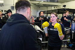 © Licensed to London News Pictures. 13/11/2019. London, UK. Liberal Democrat Leader JO SWINSON in the boxing ring at Total Boxer in Crouch End, north London. Liberal Democrats have announced plans to tackle soaring levels of knife crime, by investing £500 million in youth services and adopting a public health approach to youth violence. Photo credit: Dinendra Haria/LNP