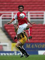 Photo: Lee Earle.<br /> Swindon Town v Port Vale. Coca Cola League 1. 08/10/2005. Swindon's Rory Fallon jumps to control the ball.