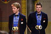 Officiele Huldiging van de Olympische medaillewinnaars Sochi 2014 / Official Ceremony of the Sochi 2014 Olympic medalists.<br /> <br /> Op de foto:  Sven Kramer en Jorrit Bergsma