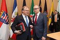 16 MAR 2017, BERLIN/GERMANY:<br /> Reiner Haseloff (L), CDU, Ministerpraesident Sachsen-Anhalt, und Erwin Sellering (R), SPD, Ministerpraesident Mecklenburg-Vorpommern, im Gespraech, vor Beginn einer Sitzung der Ministerpraesidentenkonferenz, Bundesrat<br /> IMAGE: 20170316-01-006<br /> KEYWORDS: Ministerpräsidentenkonferenz, MPK, Gespräch